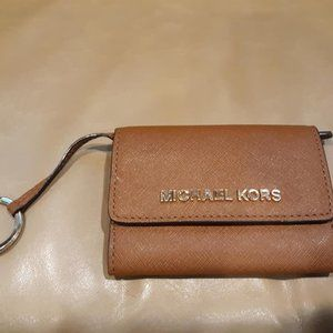 MICHAEL KORS Leather Small Card Wallet Keychain
